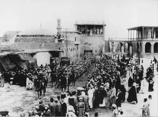 Troops entering Baghdad March 1917. Courtesy of National Archives.
