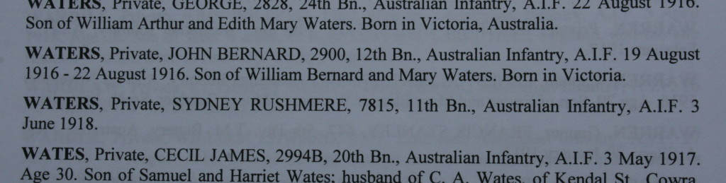 Entry in Memorial Register