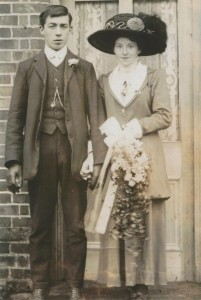 Arthur Emms and Martha Dade on their wedding day, 23rd January 1912