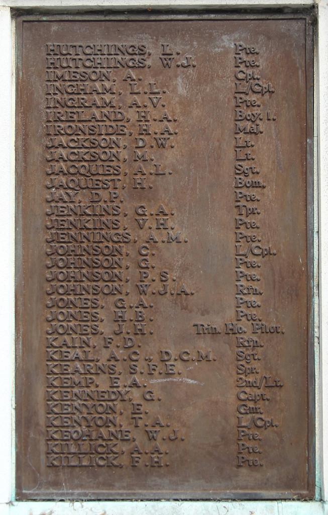 G Jenkins on Sutton War Memorial