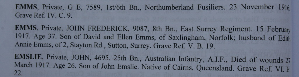 Entry in Dernancourt Communal Cemetery register.