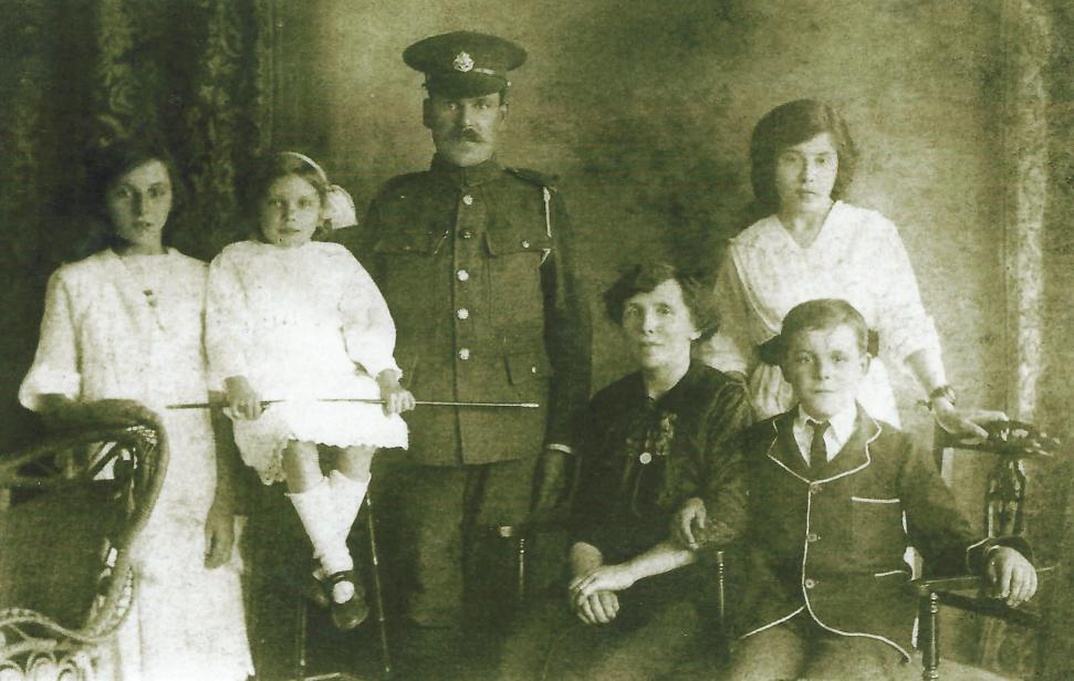 John and Edith Emms and family. From left to right: Florence, Emma, John Emms, Edith, his wife(seated) Dorothy and Edward.