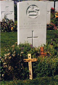 Grave of Frederick Edward Long with crosses left by pupils of Abbotsholme School in the late 1990s