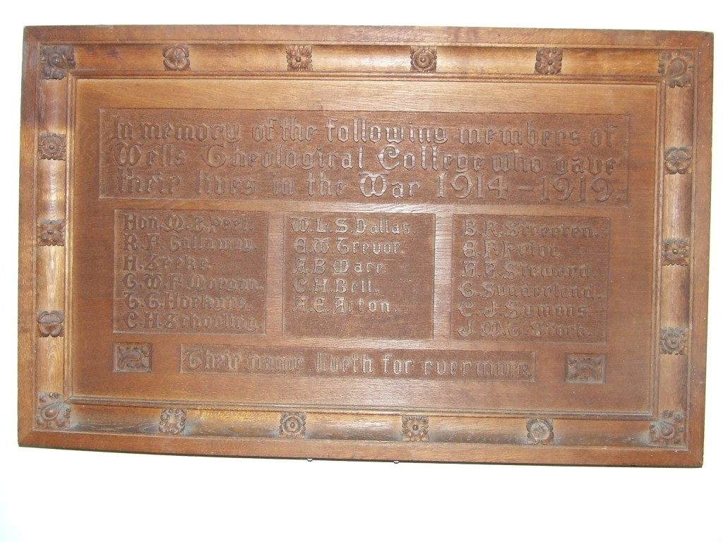 War Memorial of Wells Theological College, now at Sarum College. Photograph courtesy of Sarum College