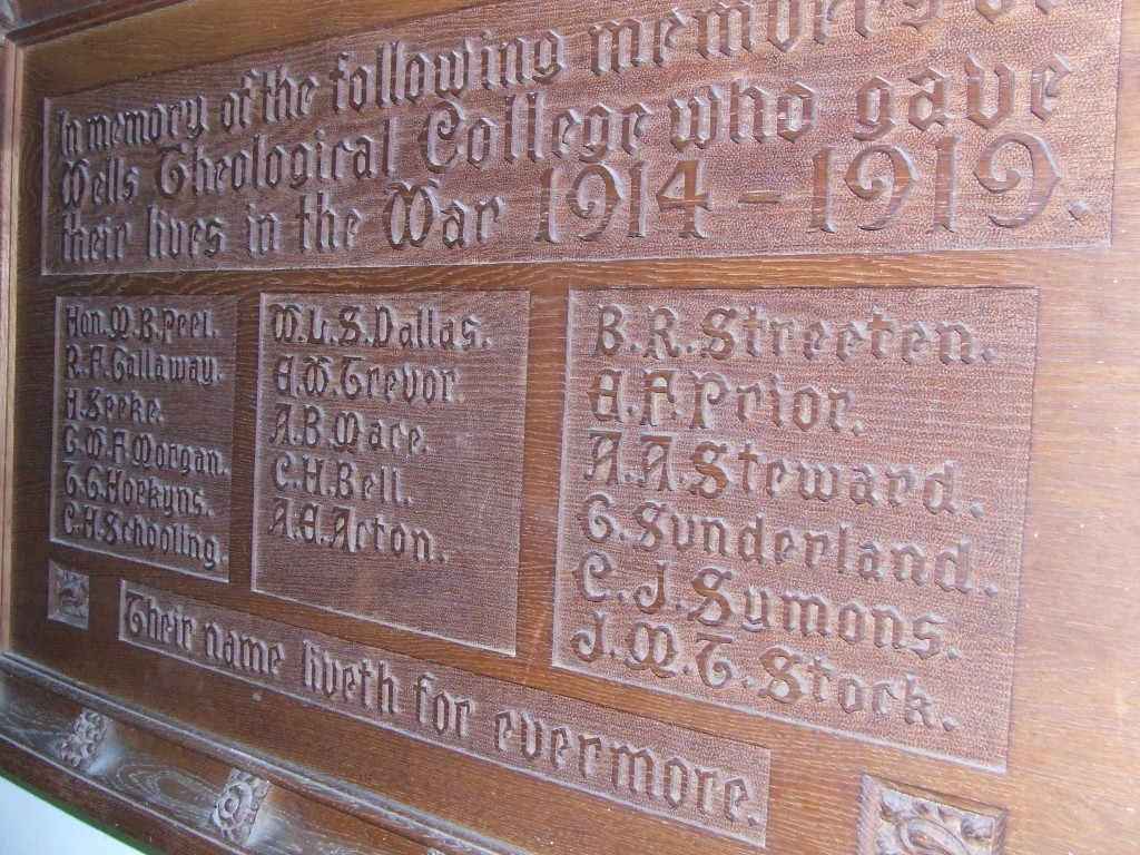 Wells Theological College Memorial. Photograph courtesy of Sarum College