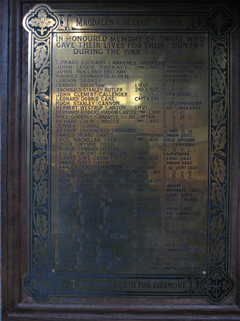 Memorial at Magdalen College School