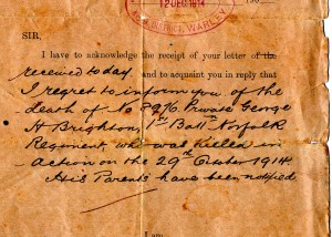 Notification of his death. Photograph courtesy of Savage family