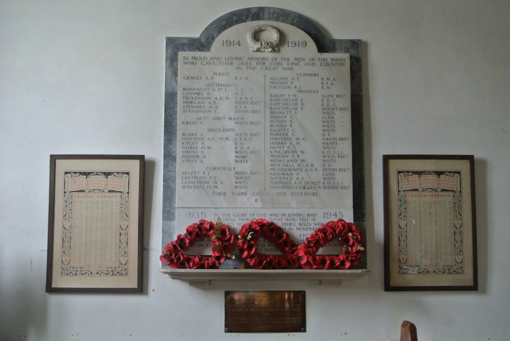 War memorial in St. Laurence Church, Downton. Photograph courtesy of Jeff Fox