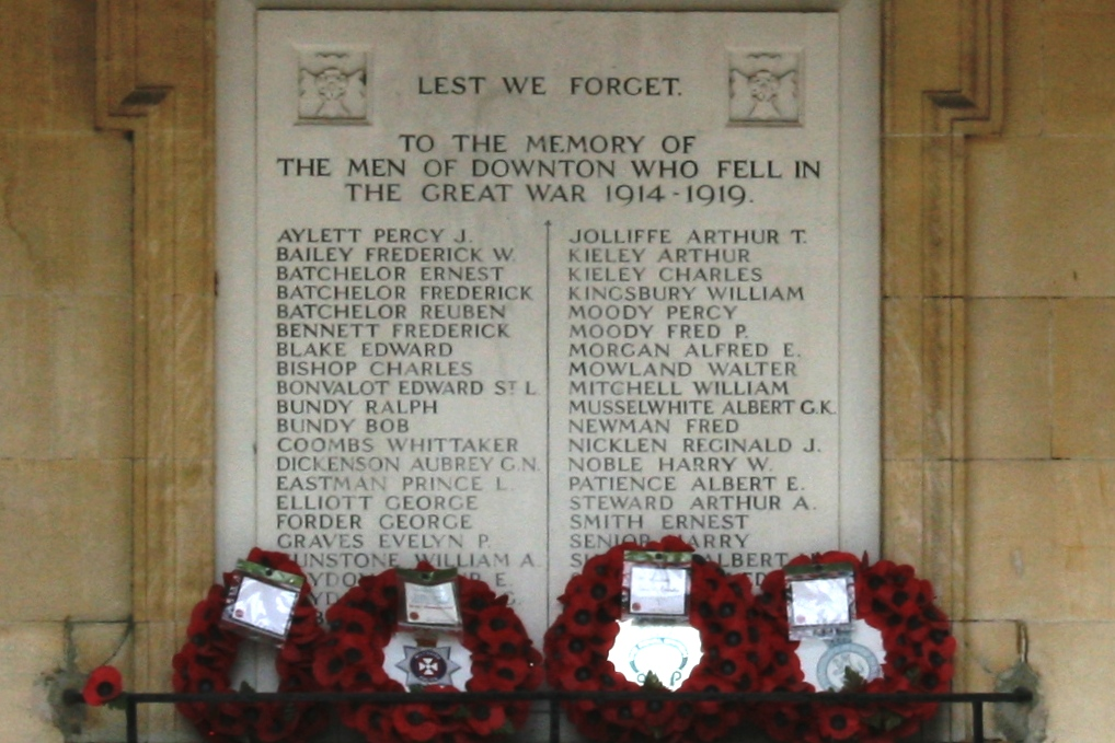 Plaque on the Memorial Hall, Downton .Photograph courtesy of Jeff Fox